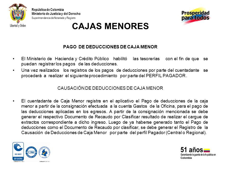 CAJAS MENORES PAGO DE DEDUCCIONES DE CAJA MENOR