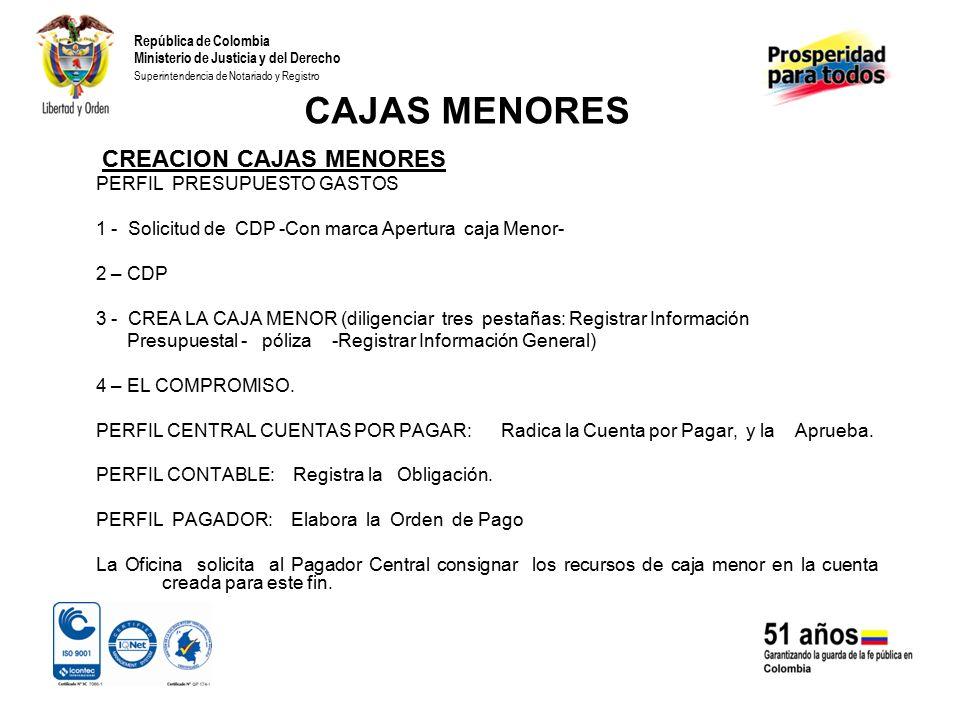 CAJAS MENORES CREACION CAJAS MENORES PERFIL PRESUPUESTO GASTOS