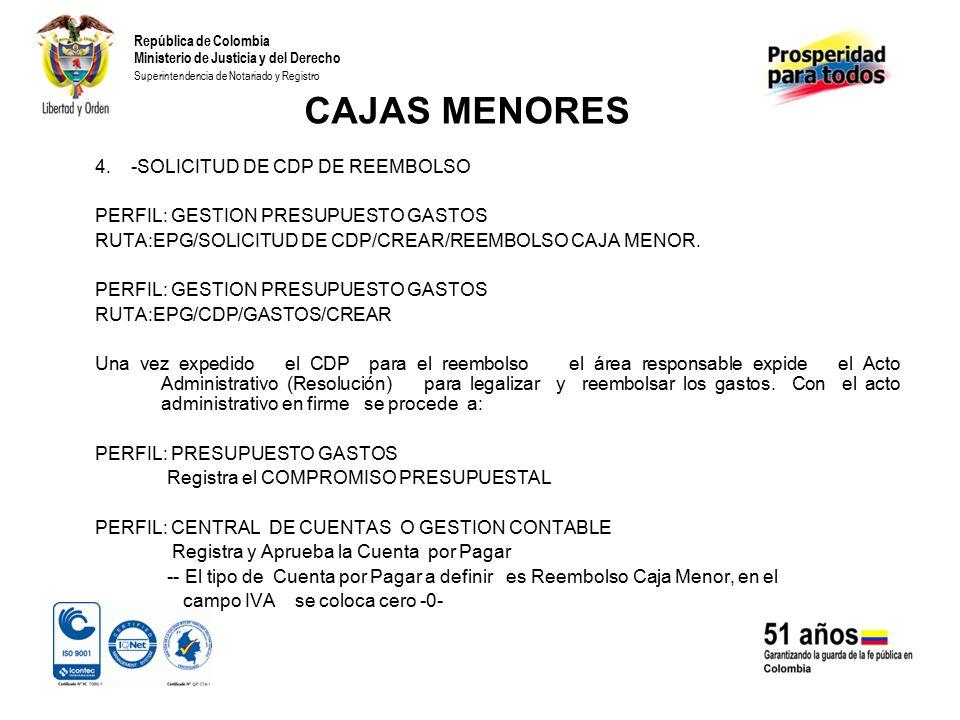 CAJAS MENORES 4. -SOLICITUD DE CDP DE REEMBOLSO