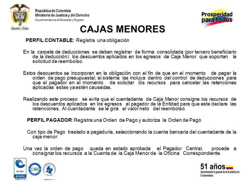 CAJAS MENORES PERFIL CONTABLE: Registra una obligación