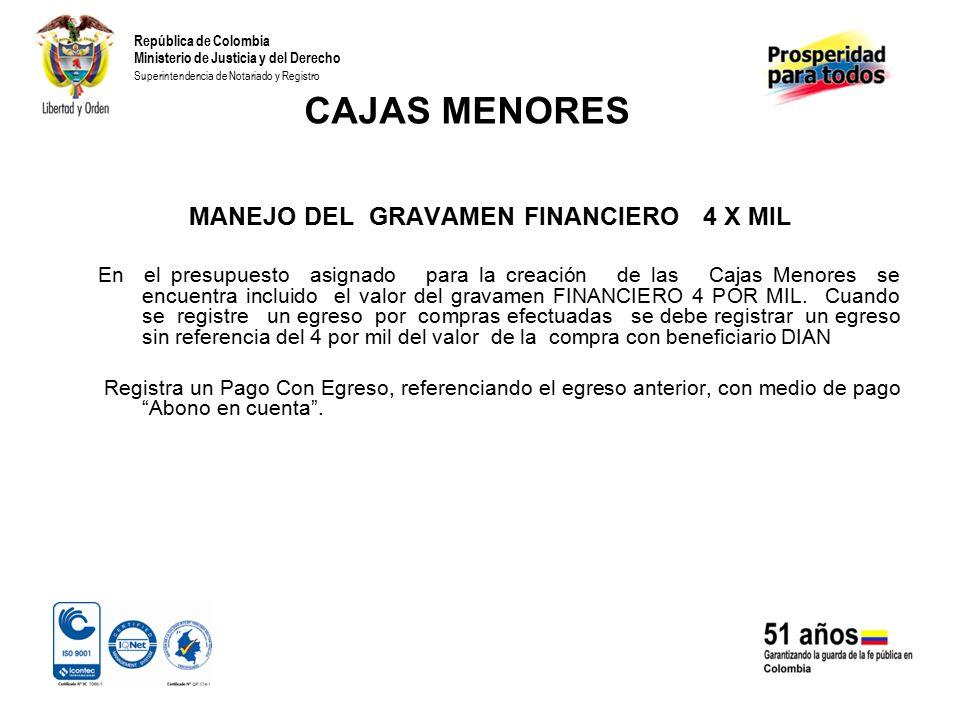 MANEJO DEL GRAVAMEN FINANCIERO 4 X MIL