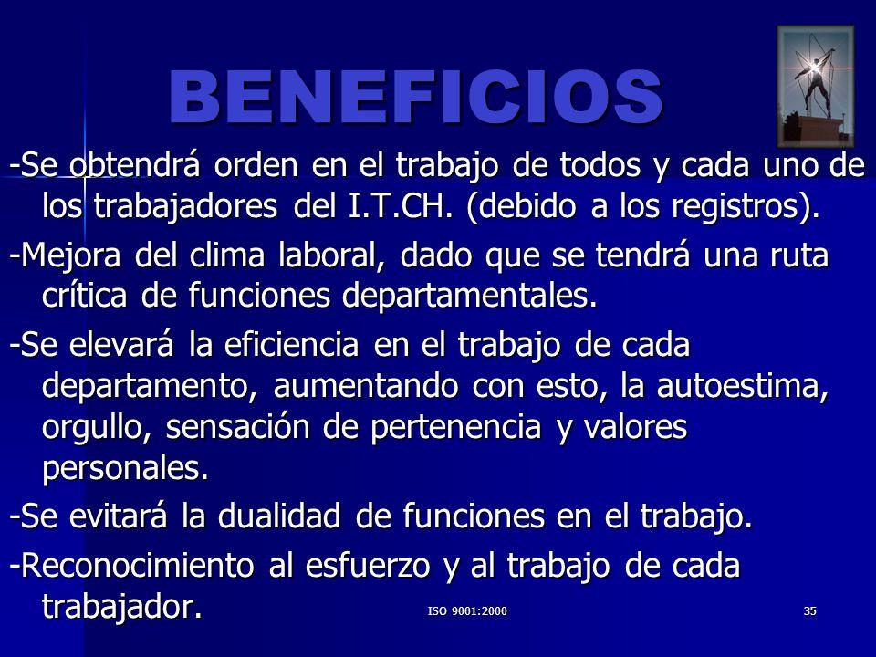 BENEFICIOS -Se obtendrá orden en el trabajo de todos y cada uno de los trabajadores del I.T.CH. (debido a los registros).