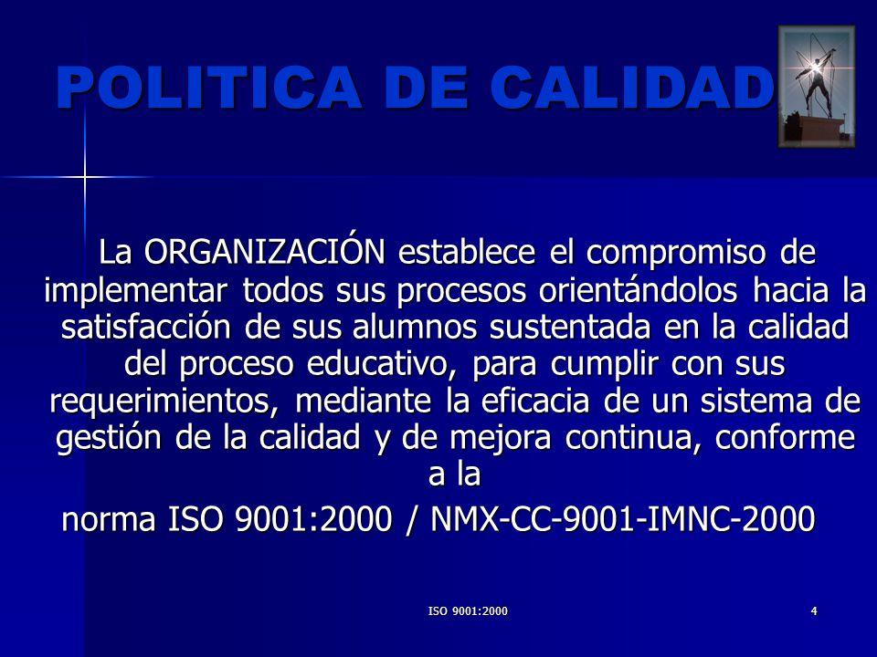 norma ISO 9001:2000 / NMX-CC-9001-IMNC-2000