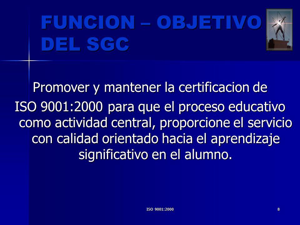FUNCION – OBJETIVO DEL SGC
