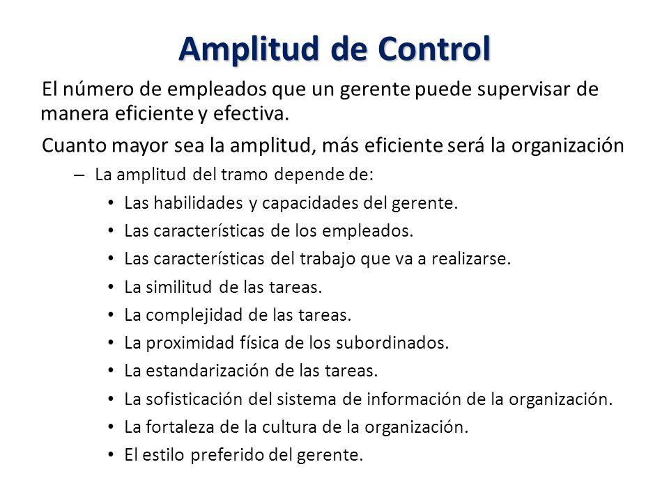 Amplitud de Control El número de empleados que un gerente puede supervisar de manera eficiente y efectiva.
