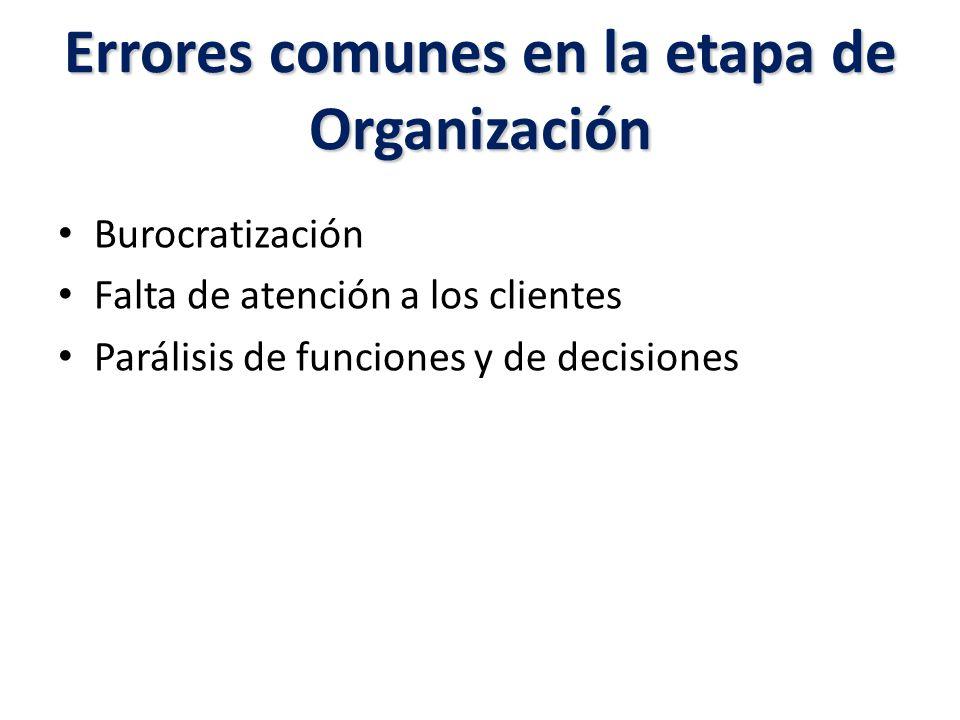 Errores comunes en la etapa de Organización