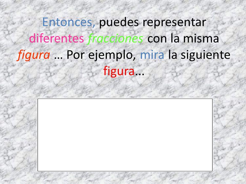 Entonces, puedes representar diferentes fracciones con la misma figura … Por ejemplo, mira la siguiente figura...