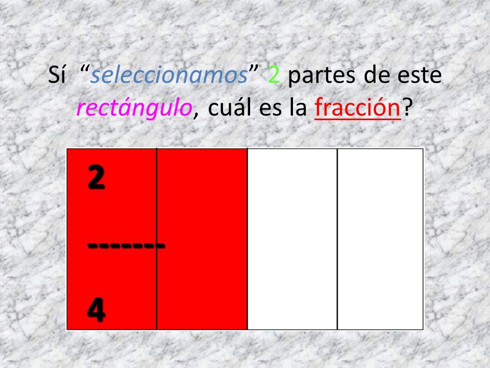 Sí seleccionamos 2 partes de este rectángulo, cuál es la fracción