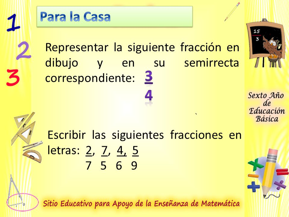 Para la Casa Representar la siguiente fracción en dibujo y en su semirrecta correspondiente: 3. 4.