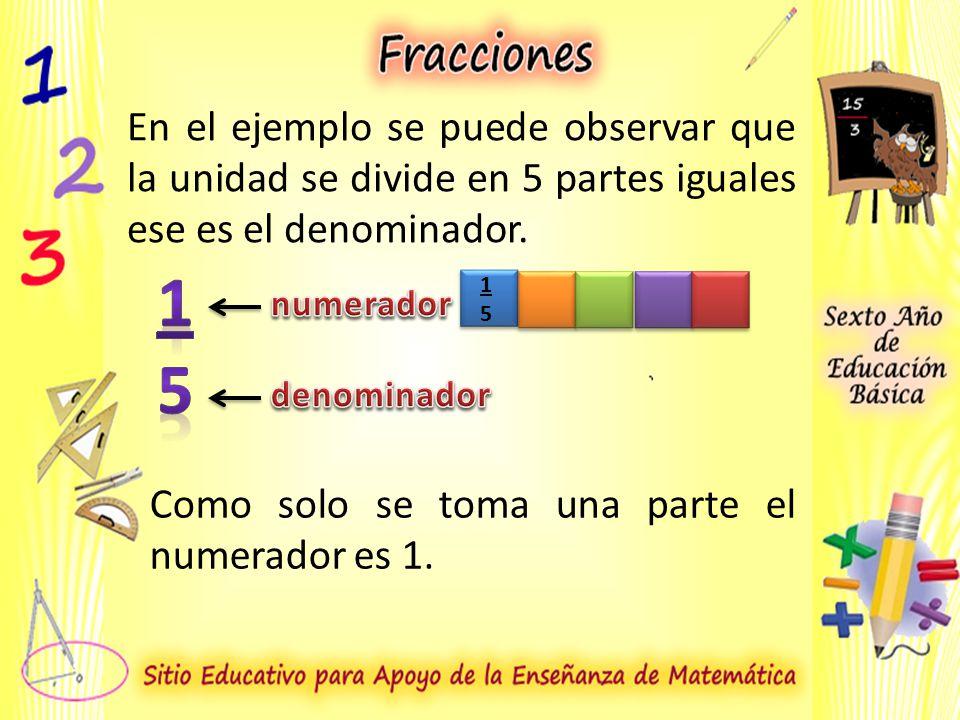 En el ejemplo se puede observar que la unidad se divide en 5 partes iguales ese es el denominador.