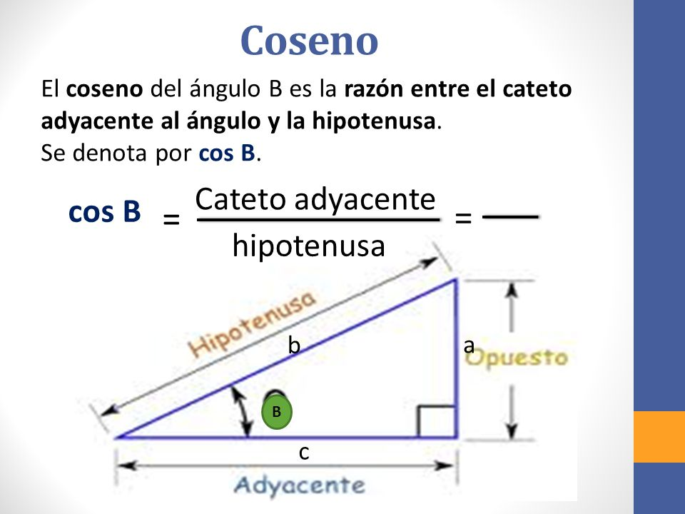 Coseno = Cateto adyacente cos B hipotenusa