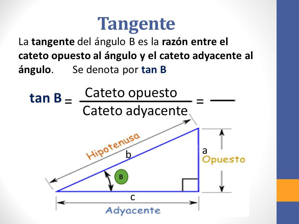 Tangente = = Cateto opuesto tan B Cateto adyacente