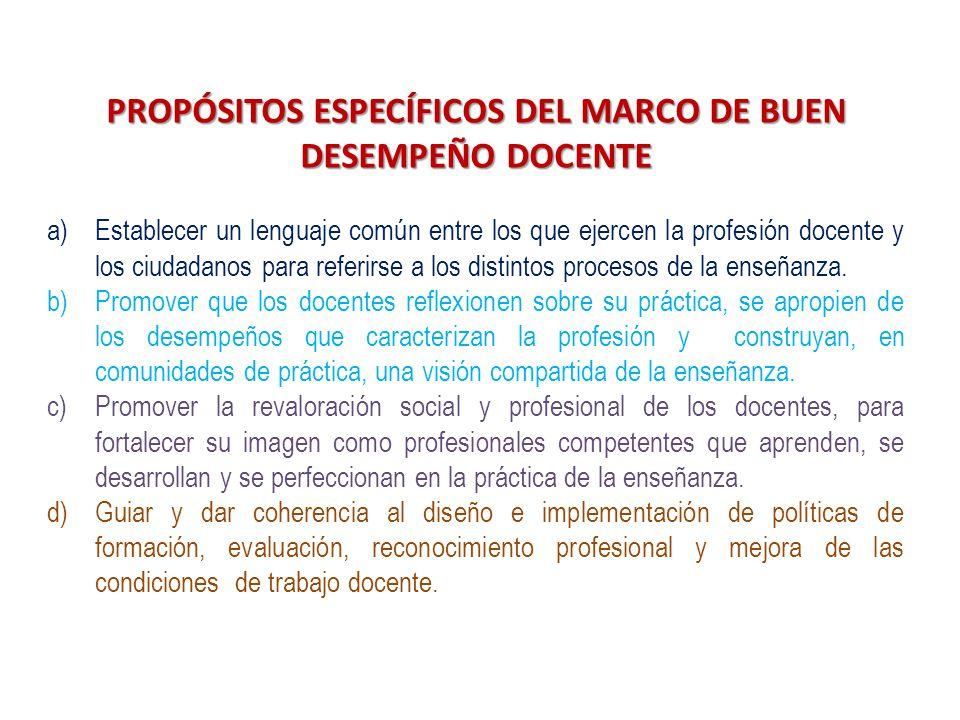 PROPÓSITOS ESPECÍFICOS DEL MARCO DE BUEN DESEMPEÑO DOCENTE