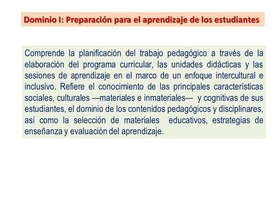 Dominio I: Preparación para el aprendizaje de los estudiantes