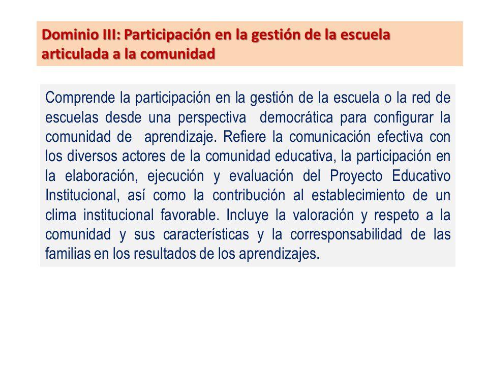 Dominio III: Participación en la gestión de la escuela articulada a la comunidad