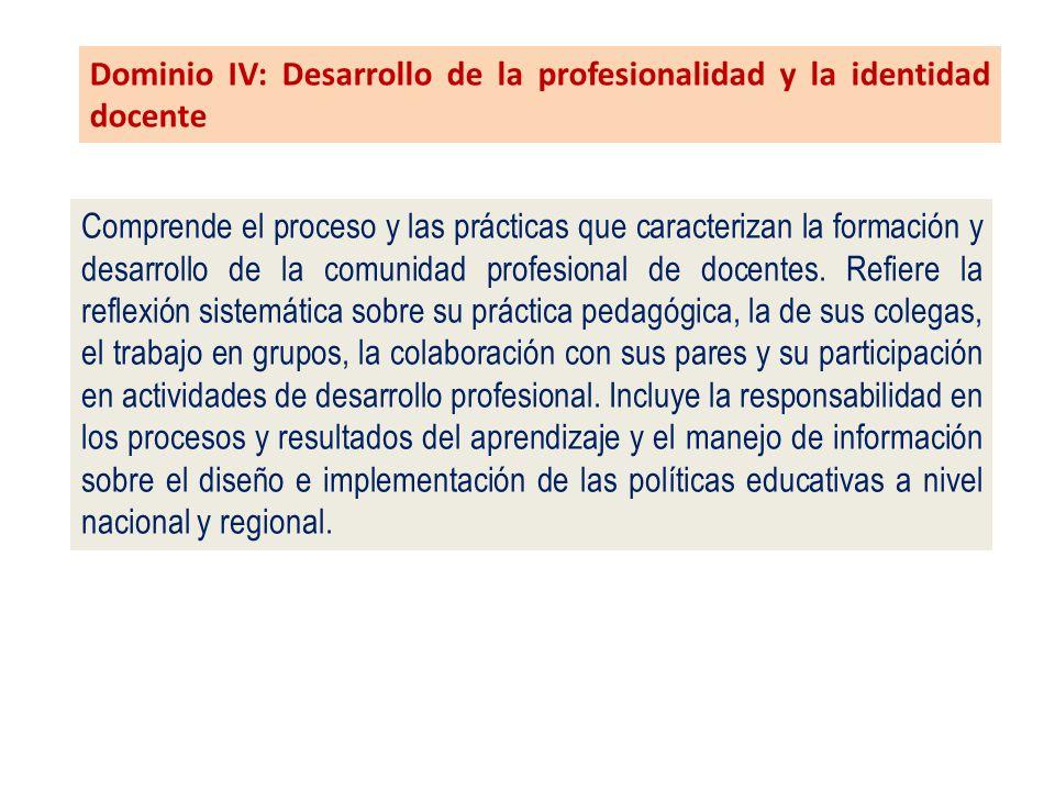 Dominio IV: Desarrollo de la profesionalidad y la identidad docente