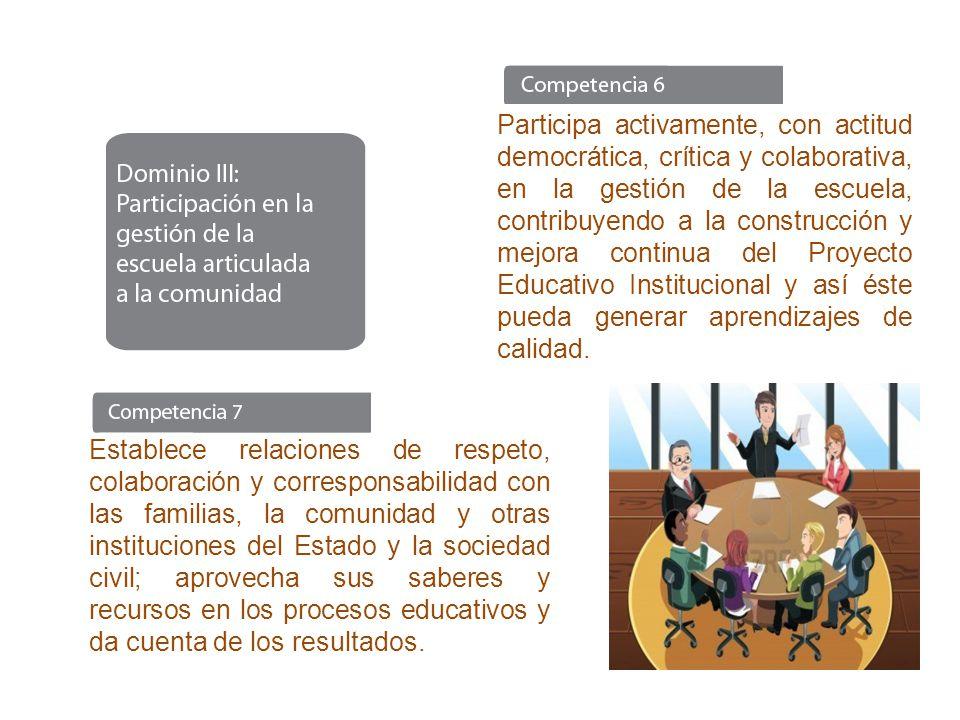 Participa activamente, con actitud democrática, crítica y colaborativa, en la gestión de la escuela, contribuyendo a la construcción y mejora continua del Proyecto Educativo Institucional y así éste pueda generar aprendizajes de calidad.