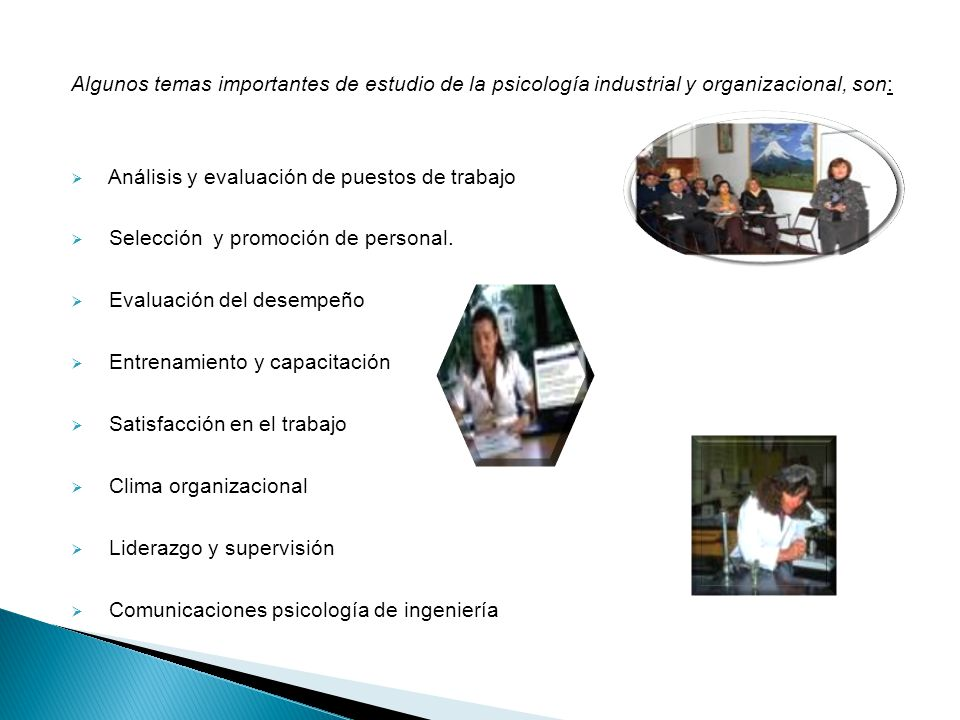 Algunos temas importantes de estudio de la psicología industrial y organizacional, son: