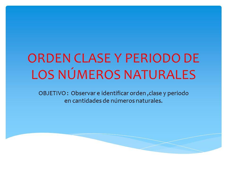 ORDEN CLASE Y PERIODO DE LOS NÚMEROS NATURALES
