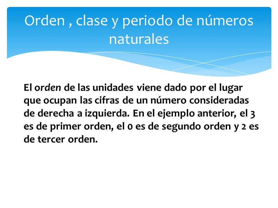 Orden , clase y periodo de números naturales