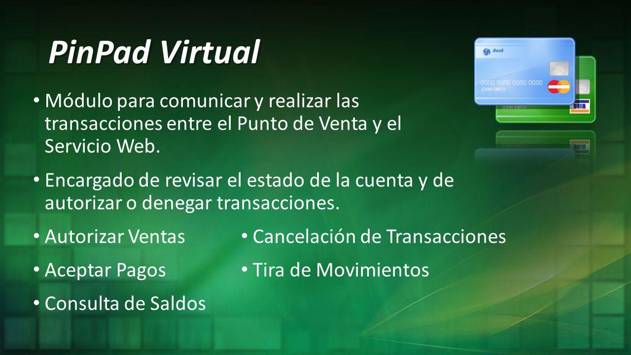 PinPad Virtual Módulo para comunicar y realizar las transacciones entre el Punto de Venta y el Servicio Web.