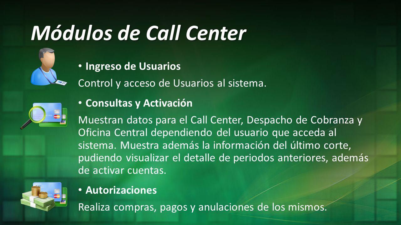 Módulos de Call Center Ingreso de Usuarios
