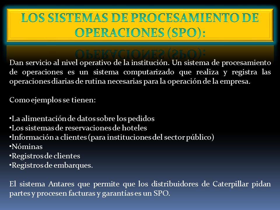 LOS SISTEMAS DE PROCESAMIENTO DE OPERACIONES (SPO):