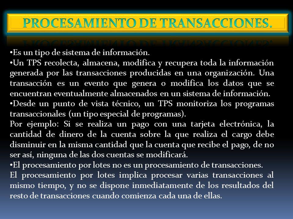PROCESAMIENTO DE TRANSACCIONES.