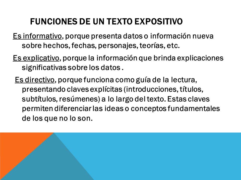 Funciones de un texto expositivo