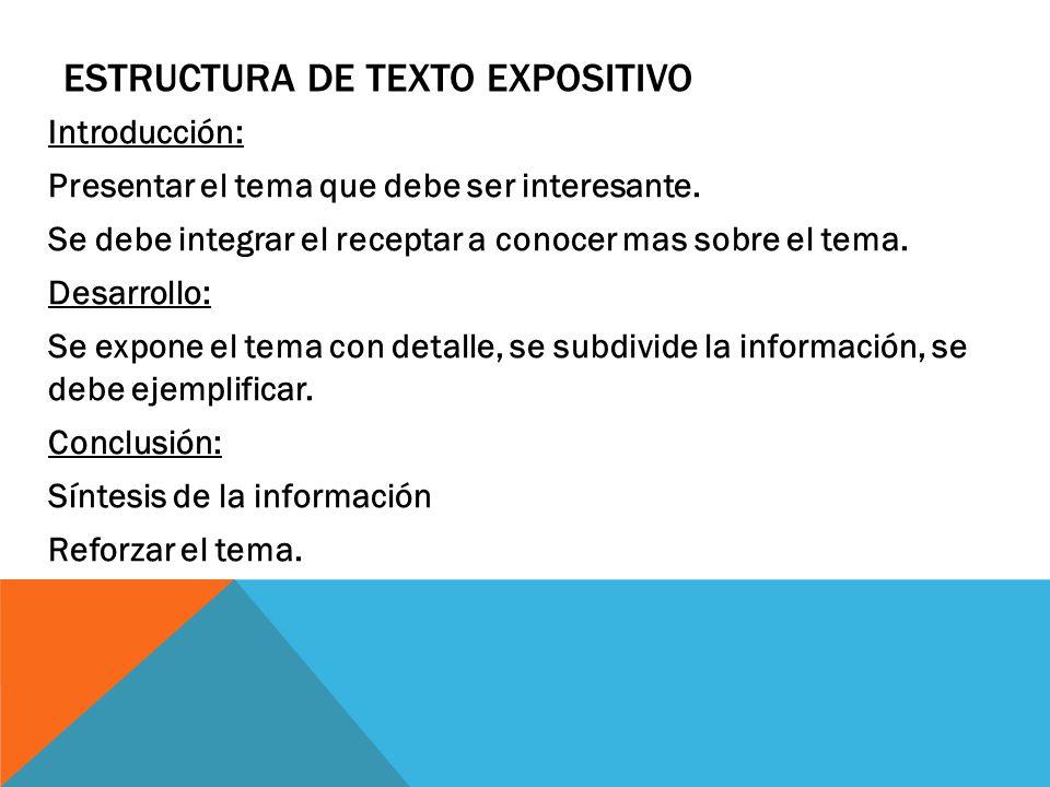 Estructura de texto expositivo