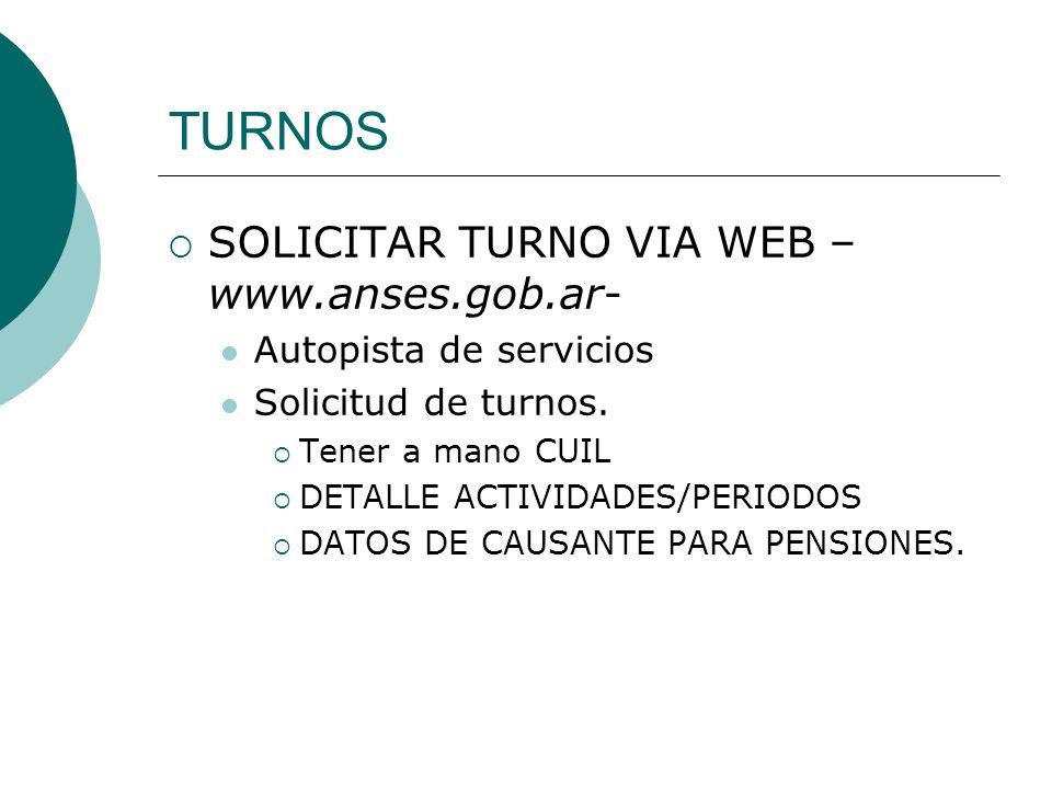 TURNOS SOLICITAR TURNO VIA WEB –www.anses.gob.ar-