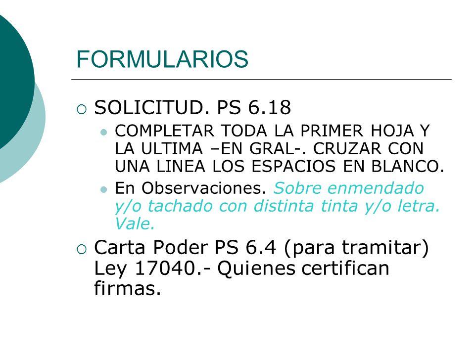 FORMULARIOS SOLICITUD. PS 6.18