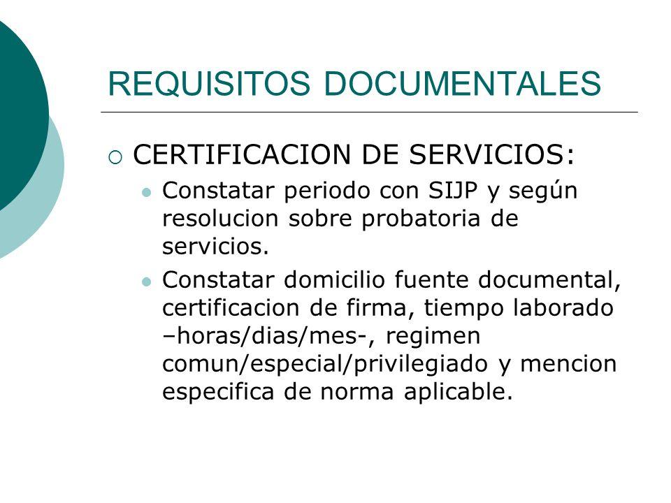 REQUISITOS DOCUMENTALES