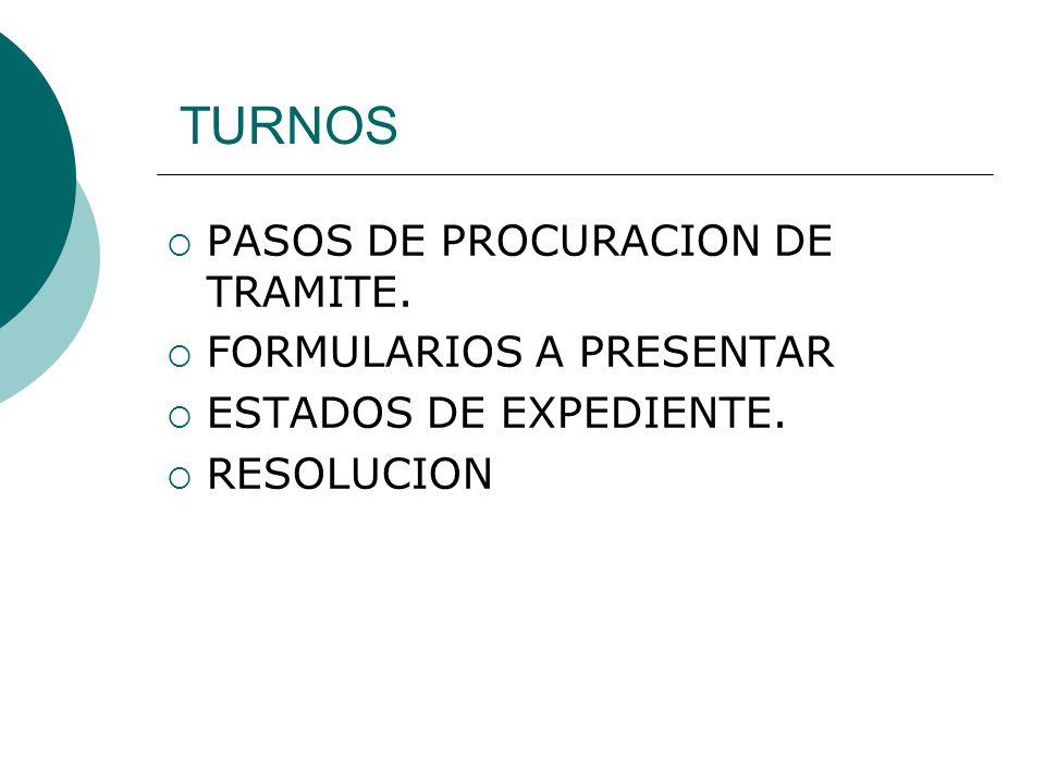 TURNOS PASOS DE PROCURACION DE TRAMITE. FORMULARIOS A PRESENTAR