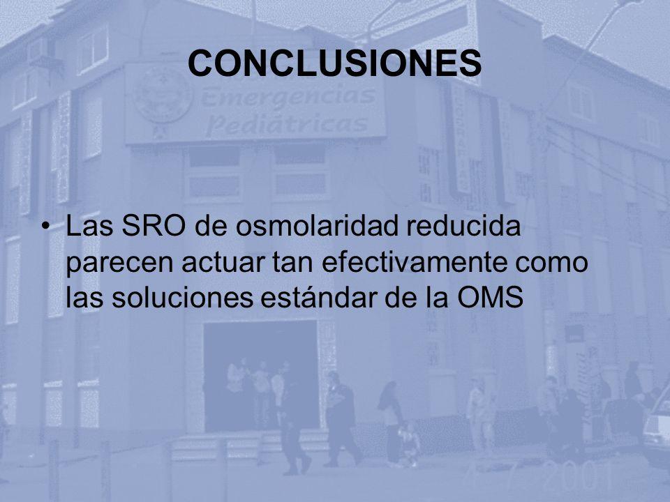 CONCLUSIONES Las SRO de osmolaridad reducida parecen actuar tan efectivamente como las soluciones estándar de la OMS.