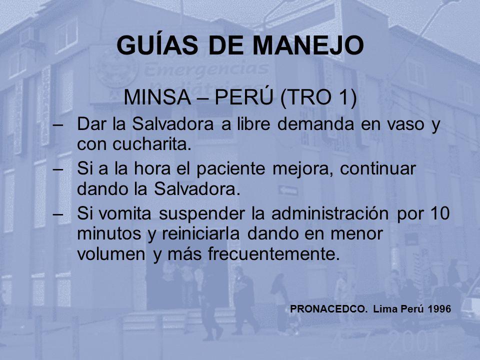 GUÍAS DE MANEJO MINSA – PERÚ (TRO 1)