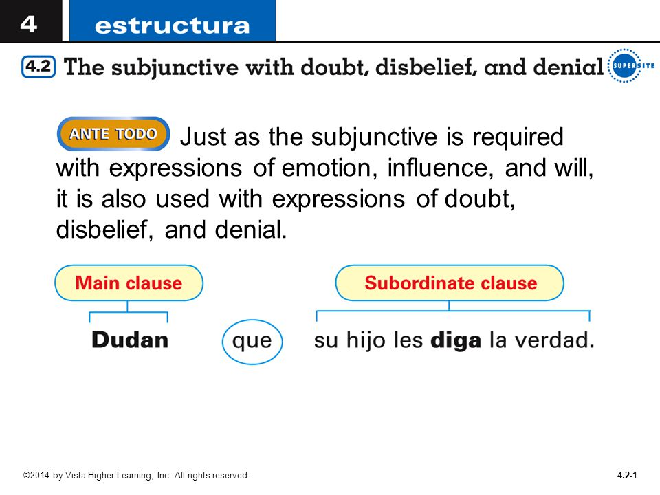 Just as the subjunctive is required with expressions of emotion, influence, and will, it is also used with expressions of doubt, disbelief, and denial.