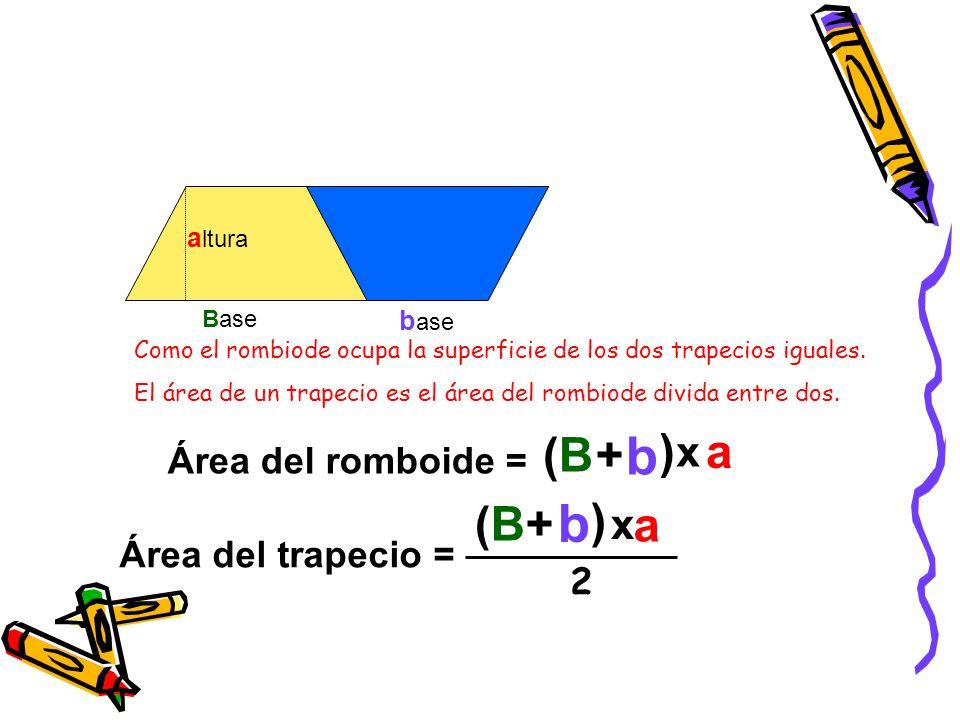b b (B + ) a (B + ) a x x Área del romboide = Área del trapecio = 2