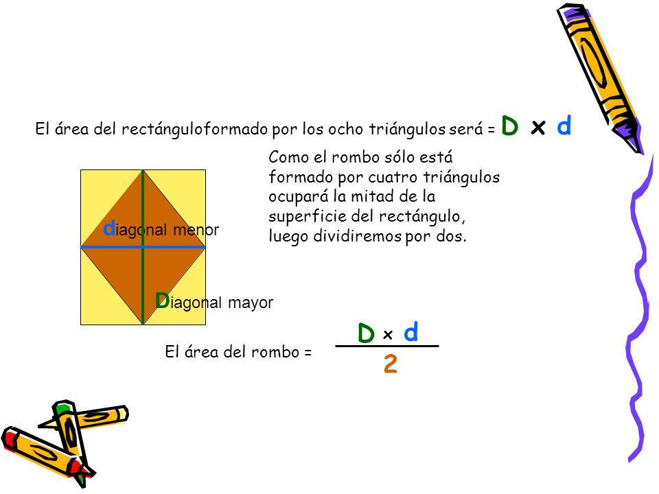 D d 2 Área del trapecio = diagonal menor Diagonal mayor