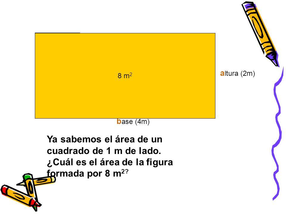 Ya sabemos el área de un cuadrado de 1 m de lado.
