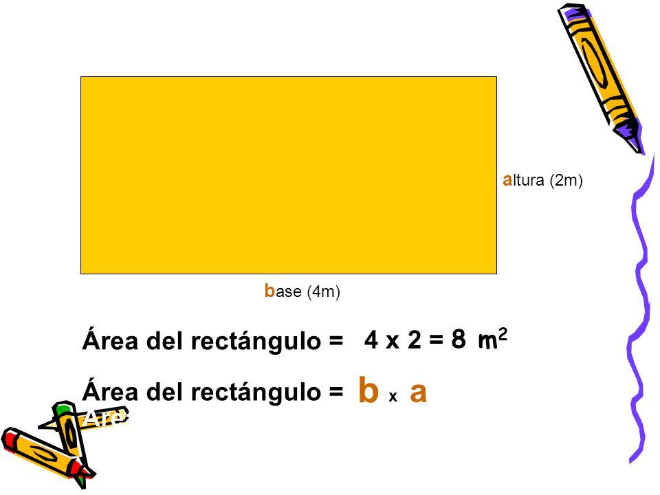 b a Área del rectángulo = 4 x 2 = 8 m2 Área del rectángulo =