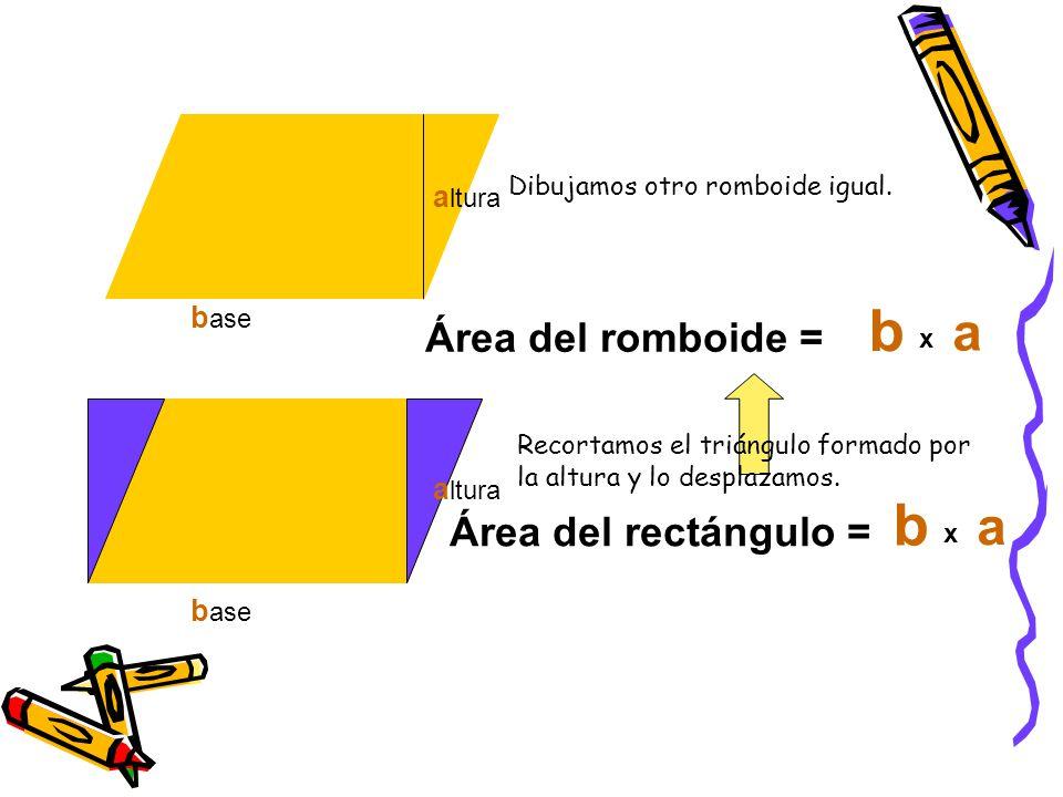 b b a a Área del romboide = Área del rectángulo = altura base altura