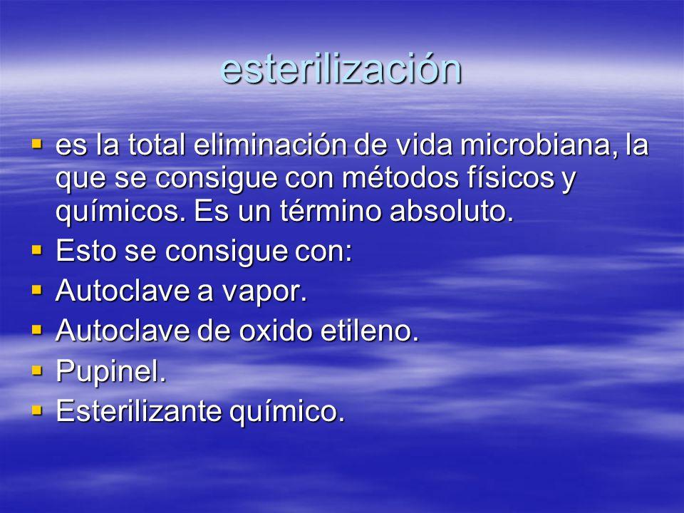 esterilización es la total eliminación de vida microbiana, la que se consigue con métodos físicos y químicos. Es un término absoluto.