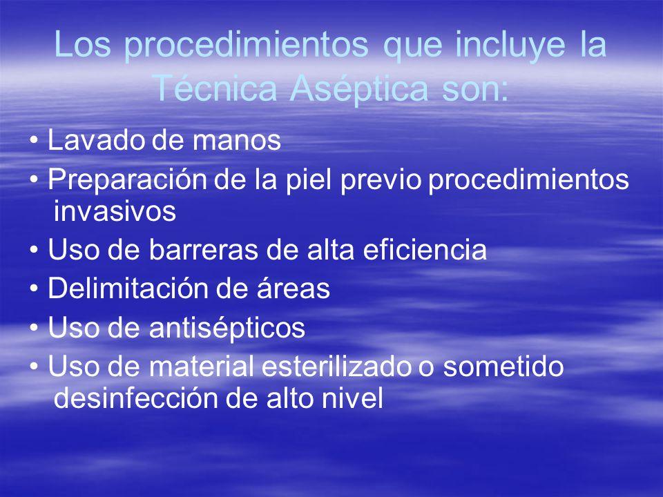 Los procedimientos que incluye la Técnica Aséptica son: