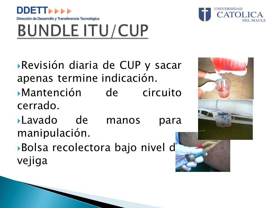 BUNDLE ITU/CUP Revisión diaria de CUP y sacar apenas termine indicación. Mantención de circuito cerrado.