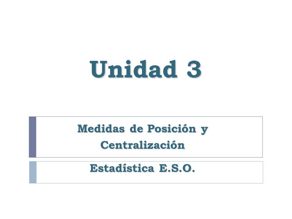 Medidas de Posición y Centralización Estadística E.S.O.