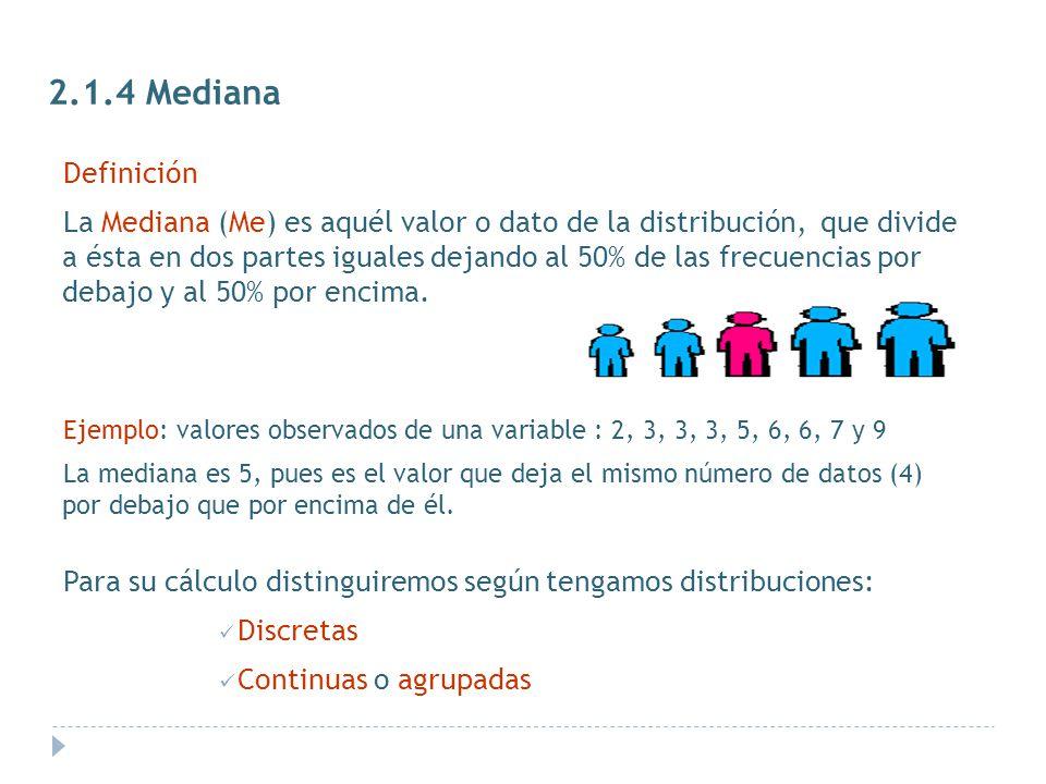 2.1.4 Mediana Definición.