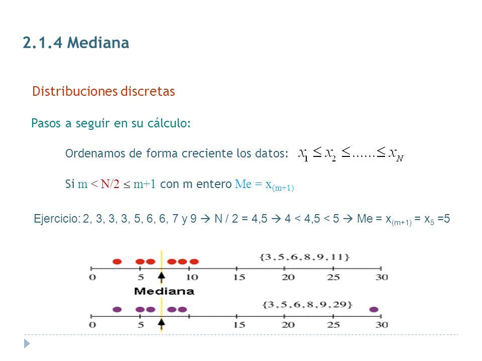 2.1.4 Mediana Distribuciones discretas Pasos a seguir en su cálculo: