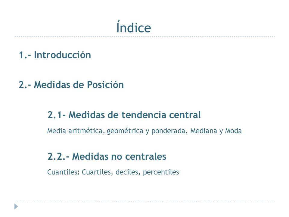 Índice 1.- Introducción 2.- Medidas de Posición