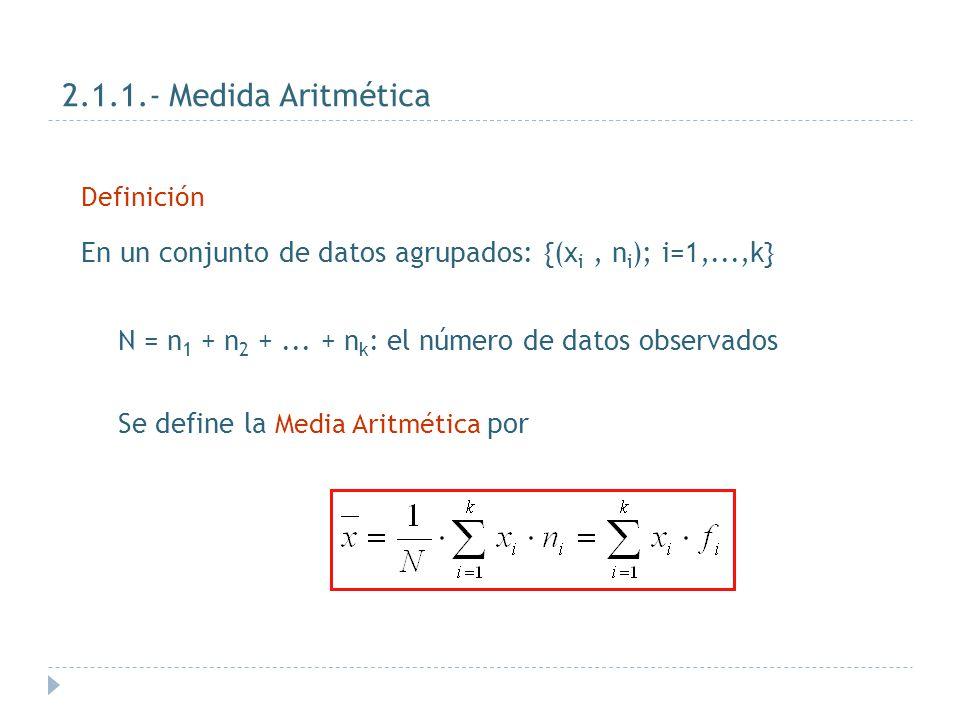 2.1.1.- Medida Aritmética Definición. En un conjunto de datos agrupados: {(xi , ni); i=1,...,k}